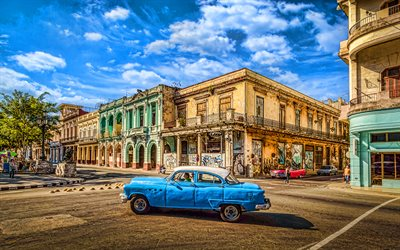 Havana, 4k, streets, cuban cities, blue car, HDR, Cuba, cityscapes