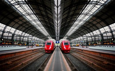 Amsterdam Centraal station, railway station, Amsterdam, modern trains, electric trains, North Holland, Netherlands
