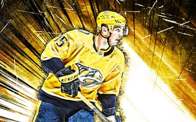 4k, Matt Duchene, grunge art, Nashville Predators, NHL, hockey players, yellow abstract rays, USA, Matt Duchene 4K, hockey, Aaron Ekblad Nashville Predators