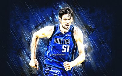 Boban Marjanovic, Dallas Mavericks, NBA, Serbian basketball player, blue stone background, USA, basketball