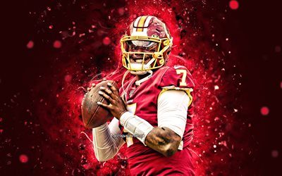 Dwayne Haskins, 4k, quarterback, Washington Football Team, american football, NFL, National Football League, neon lights, Dwayne Haskins 4K, Dwayne Haskins Washington Football Team