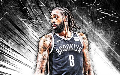 4k, DeAndre Jordan, grunge art, Brooklyn Nets, NBA, basketball, Hyland DeAndre Jordan Jr, USA, DeAndre Jordan Brooklyn Nets, white abstract rays, DeAndre Jordan 4K