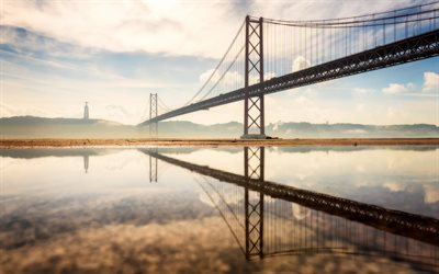 25 de Abril Bridge, Lisbon, 25th of April Bridge, Tagus River, morning, sunrise, suspension bridge, Portugal