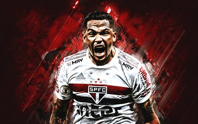 Luciano Neves, Sao Paulo FC, brazilian footballer, portrait, red stone background, soccer, Serie A, Brazil