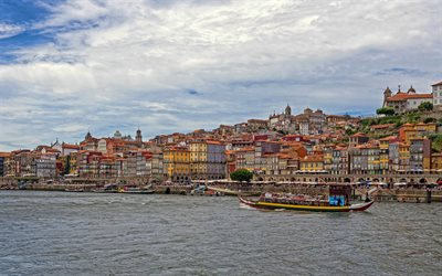 Porto, Douro River, evening, sunset, Porto cityscape, beautiful buildings, Portugal