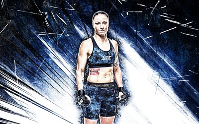 4k, Nina Ansaroff, grunge art, american fighters, MMA, UFC, female fighters, blue abstract rays, Mixed martial arts, Nina Ansaroff 4K, UFC fighters, MMA fighters