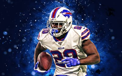 Devin Singletary, 4k, running back, Buffalo Bills, american football, NFL, National Football League, blue neon lights, Devin Singletary Buffalo Bills, Devin Singletary 4K