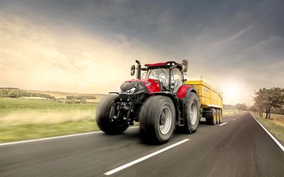 Case IH Optum 300 CVX, 4k, cargo transportation, 2020 tractors, agricultural machinery, red tractor, crawler tractor, HDR, tractor on road, agriculture, harvest, Case