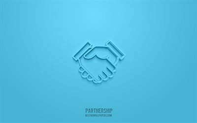 Partnership 3d icon, blue background, 3d symbols, Partnership, Handshake 3d icon, 3d icons, Partnership sign, Partnership 3d icons, Handshake sign