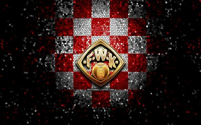 Wurzburger Kickers FC, glitter logo, Bundesliga 2, red white checkered background, soccer, VfL Osnabruck, german football club, Wurzburger Kickers logo, mosaic art, football, FC Wurzburger Kickers