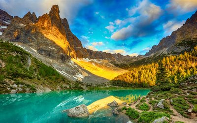 Lake Sorapis, 4k, summer, Dolomite mountains, evening landscapes, Alps, mountains, Альпы, Italy, Europe, beautiful nature, HDR