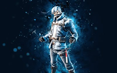 Snow Patroller, 4k, blue neon lights, Fortnite Battle Royale, Fortnite characters, Snow Patroller Skin, Fortnite, Snow Patroller Fortnite