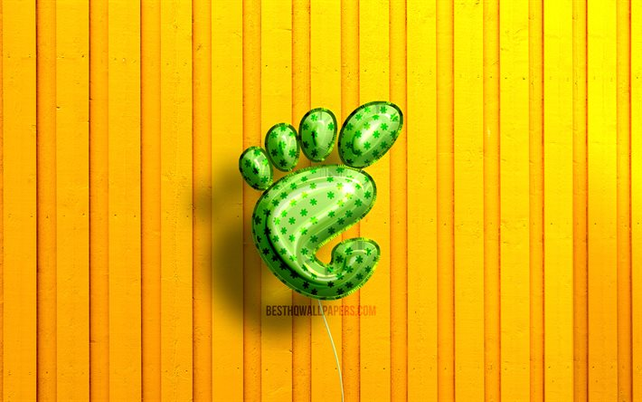 Gnome 3D logo, 4K, OS, green realistic balloons, yellow wooden backgrounds, Linux, Gnome logo, Gnome