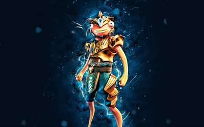 Atlantean Fishstick, 4k, blue neon lights, Fortnite Battle Royale, Fortnite characters, Atlantean Fishstick Skin, Fortnite, Atlantean Fishstick Fortnite