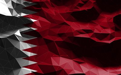 4k, Qatari flag, low poly art, Asian countries, national symbols, Flag of Qatar, 3D flags, Qatar flag, Qatar, Asia, Qatar 3D flag