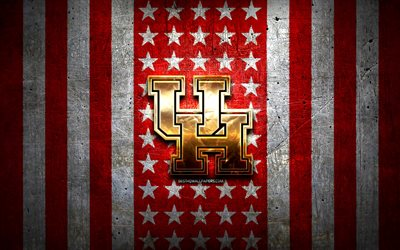 Houston Cougars flag, NCAA, red white metal background, american football team, Houston Cougars logo, USA, american football, golden logo, Houston Cougars