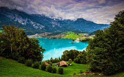 Lac de Brienz, 4k, été, montagnes, Alpes, Suisse, belle nature, Berne, Europe