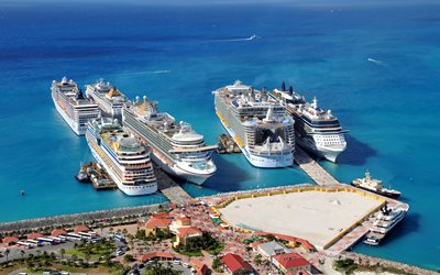 Allure of the Seas, cruise liners, seaport, class Oasis, summer, Caribbean Sea, passenger large ships, Celebrity Solstice, AIDAluna, MSC