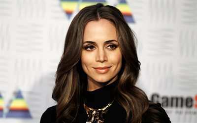 Eliza Dushku, 4k, portrait, american actress, smile, black jacket