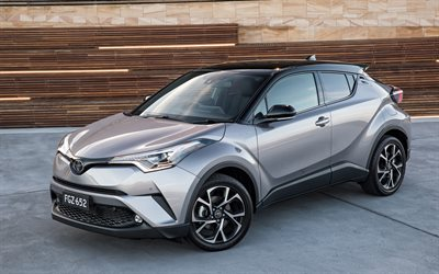 Toyota C-HR, 2017, 4k, small sports crossover, silver C-HR, new cars, Japanese cars, Toyota