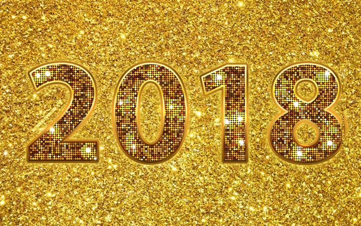 Download Wallpapers 4k, 2018 Year, Golden Digits, Creative