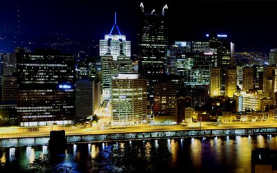 Pittsburgh, nightscapes, embankment, buildings, USA, America