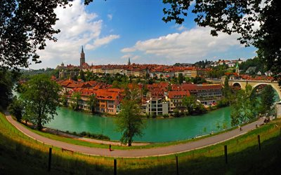 Bern, Alps, city panorama, old town, river, Switzerland