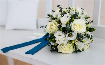 wedding bouquet, white roses, bridal bouquet, wedding, white flowers, wedding concepts
