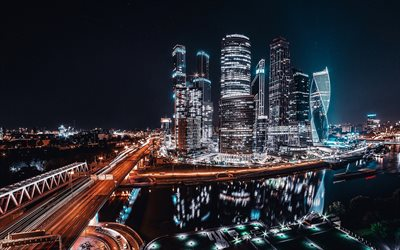 Moscow-City, nightscapes, skyscrapers, Moscow, Russia