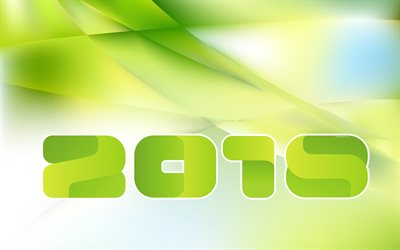 2018 Year, 4k, green New Year background, green abstraction, New Year, 2018 concepts