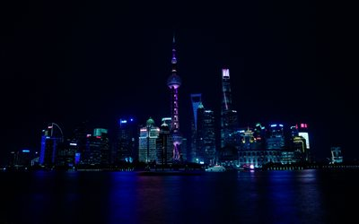 Shanghai, 4k, nightscapes, skyscrapers, China, Asia