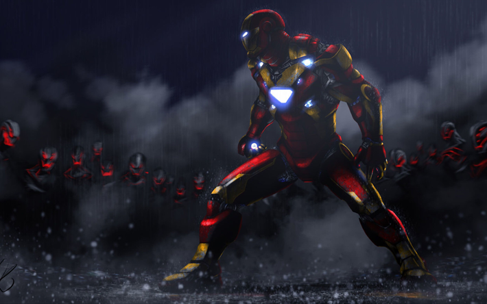 Descargar Fondos De Pantalla 4k, Iron Man, La Lluvia, La