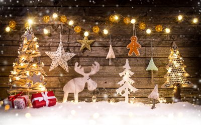 Christmas decoration, wooden figures, tree, lights, deer, wooden background, Happy New Year, Christmas
