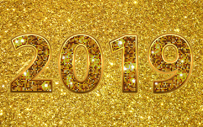 Download wallpapers Happy New Year 2019, golden digits ...