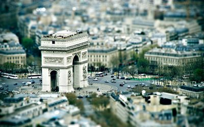 Arc de Triomphe, Triumphal Arch, Paris, France, cityscape, landmark, capital