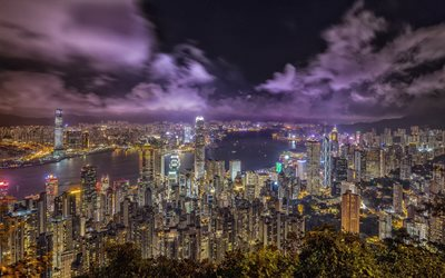 Hong Kong, China, night, metropolis, big city, skyscrapers, modern architecture, bay