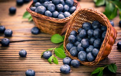 blueberries in baskets, 4k, bilberry, blueberry, berries, macro, fresh fruits, blueberries, fruits
