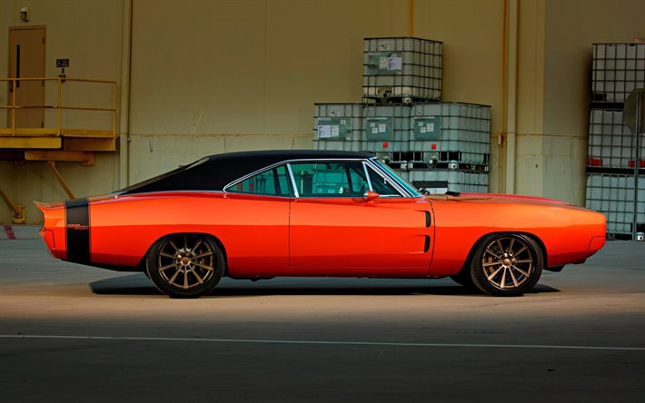 1970, Dodge Charger, 2-Door Coupe, side view, exterior, orange sports coupe, tuning Charger, retro cars, american cars, Dodge