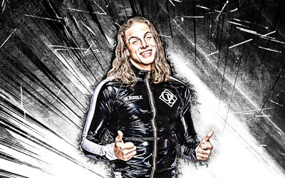 4k, Matt Riddle, grunge art, american wrestler, WWE, white abstract rays, Matthew Fredrick Riddle, wrestling, wrestlers, Matt Riddle 4K