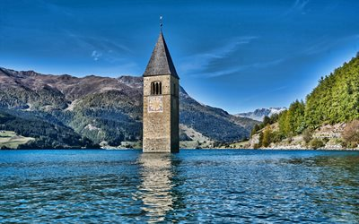 Reschensee, chapel, mountain lake, South Tyrol, Alps, mountain landscape, Italy