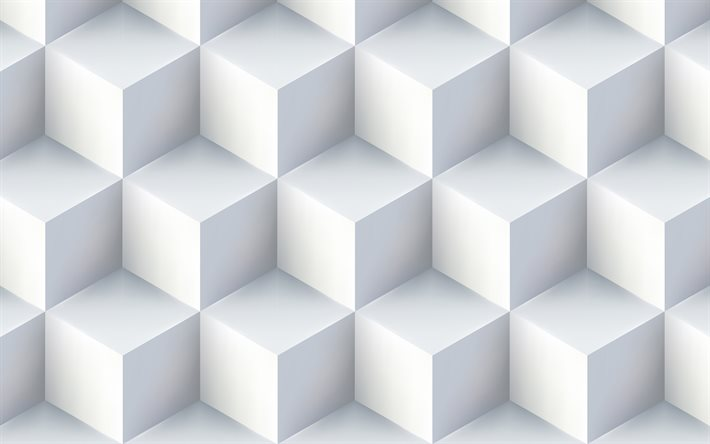 white cubes, creative, 3D cubes texture, white backgrounds, square textures, abstract backgrounds