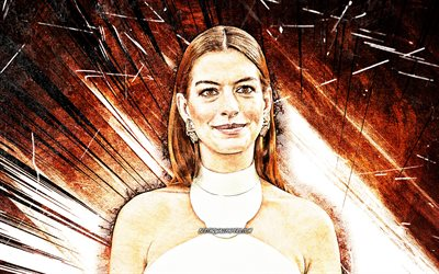 4k, Anne Hathaway, grunge art, Hollywood, american celebrity, movie stars, Anne Jacqueline Hathaway, brown abstract rays, american actress, Anne Hathaway 4K