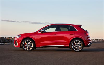 Audi RS Q3, 2020, side view, exterior, red crossover, new red RS Q3, german cars, Audi