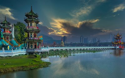 Kaohsiung, 4k, villes chinoises, HDR, Taiwan, paysages urbains, Kaohsiung City, Chine, Asie
