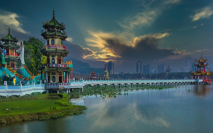 Kaohsiung, 4k, chinese cities, HDR, Taiwan, cityscapes, Kaohsiung City, China, Asia