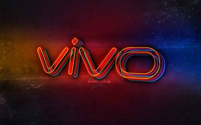 Vivo logo, light neon art, Vivo emblem, Vivo neon logo, creative art, Vivo