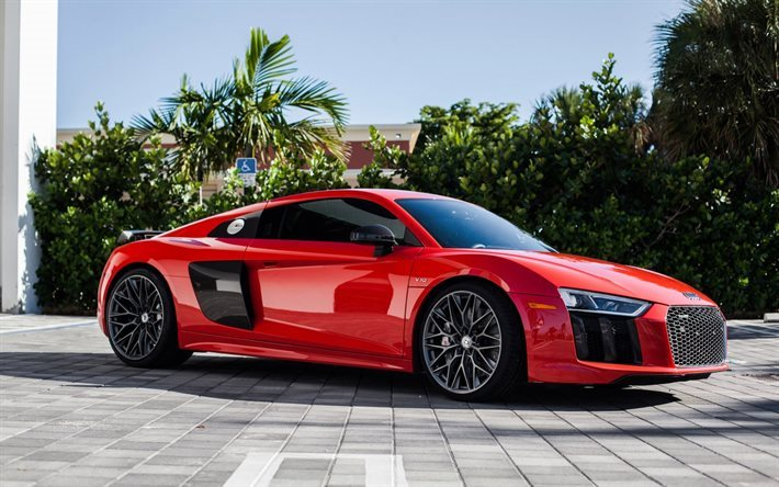 Download Wallpapers Audi R8 2017 Red R8 Sports Coupe