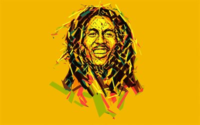 Bob Marley, 4k, Jamaican musician, art, minimal, yellow background