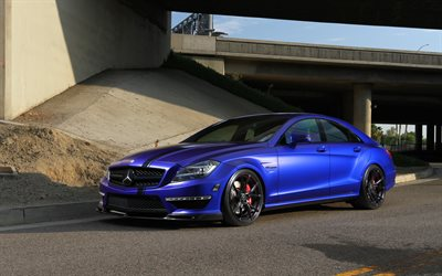 Mercedes-Benz CLS63 AMG, 2017, sports sedan, blue matte CLS, black wheels, tuning CLS, luxury cars, Mercedes