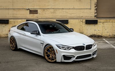 BMW M4, 2017, F83, white luxury coupe, bronze wheels, tuning m4, sports cars, BMW